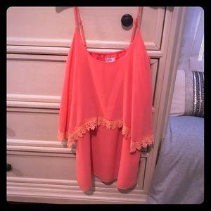 Coral shift dress